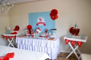 Gender neutral aqua & red baby carriage shower via Kara's Party Ideas karaspartyideas.com #gender #neutral #baby #shower #ideas-17