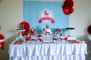 Gender neutral aqua & red baby carriage shower via Kara's Party Ideas karaspartyideas.com #gender #neutral #baby #shower #ideas-2