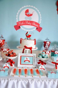 Gender neutral aqua & red baby carriage shower via Kara's Party Ideas karaspartyideas.com #gender #neutral #baby #shower #ideas-3