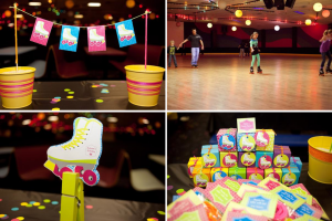 Neon Roller Skate Themed Birthday Party Cosmic via Kara's Party Ideas karaspartyideas.com #roller #skate #birthday #party #idea #cosmic