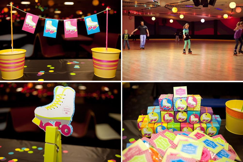 Karas Party Ideas Neon Roller Skate Disco Teen Tween 11th Birthday