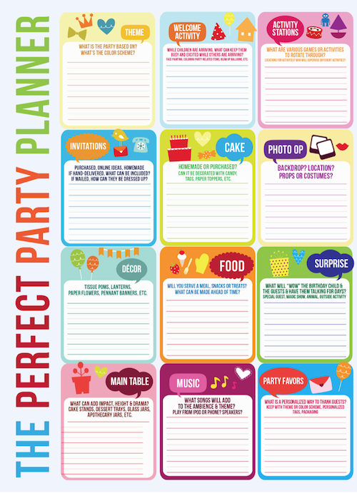 Perfect party planner master party template via KarasPartyIdeas.com #free #party #planning #checklist #template