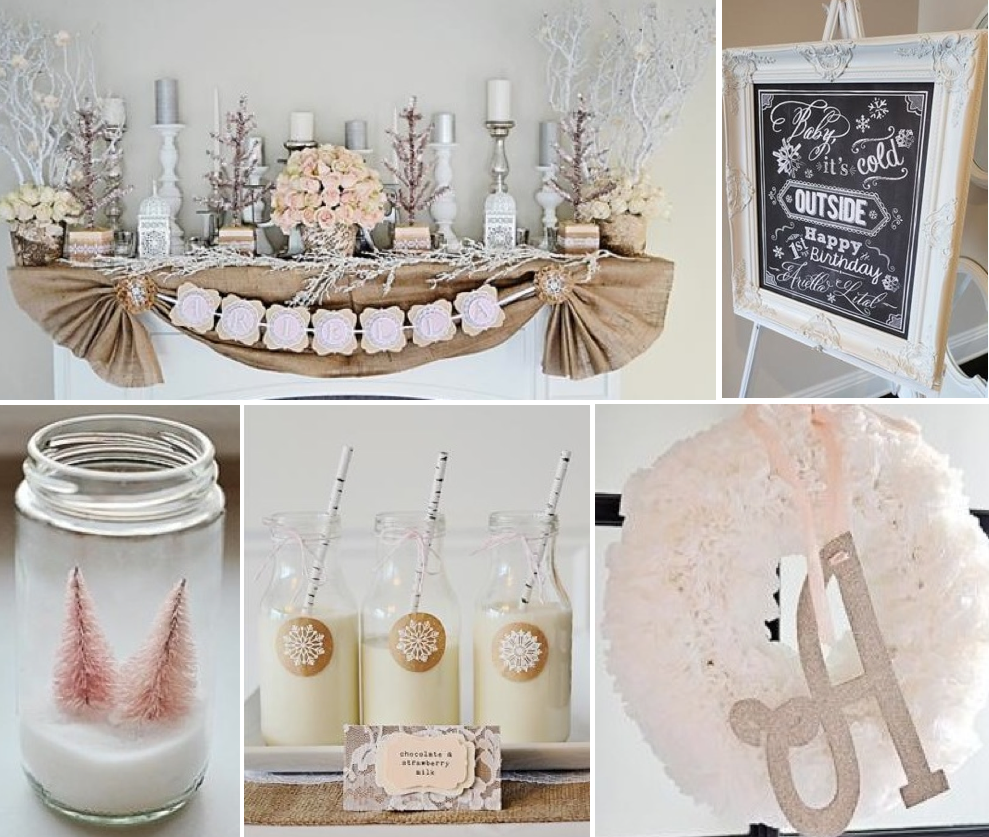 karas party ideas rustic shabby winter wonderland girl 1st birthday party planning ideas
