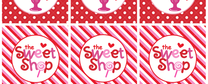 Sweet Shoppe Valentine's Free Cupcake Toppers via Kara's Party Ideas karaspartyideas.com