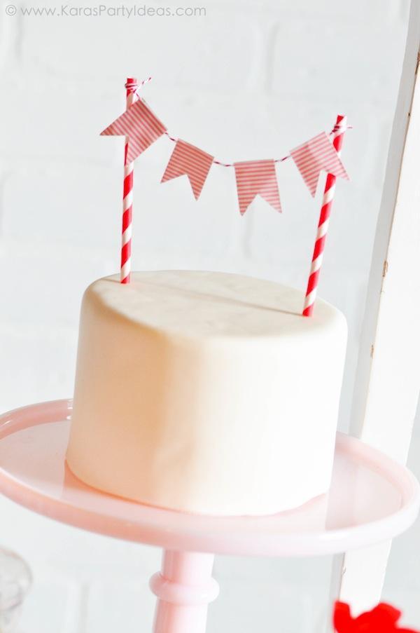guirnalda para tarta con baker's twine