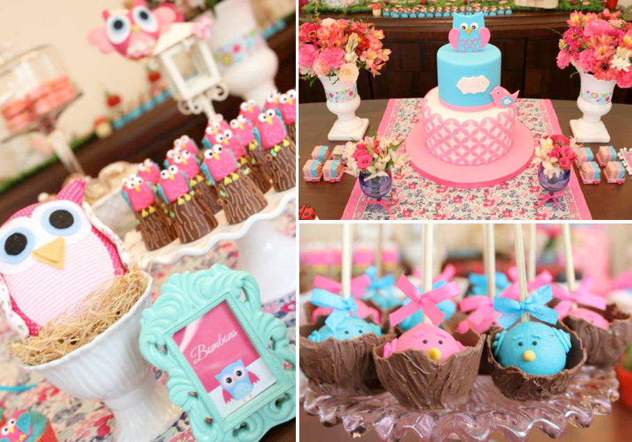 Karas Party Ideas Woodland Owl Bug Flower Garden Girl Birthday