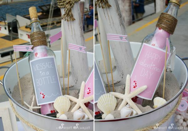 Karas Party Ideas Message in a Bottle Nautical Valentines Day – Message in a Bottle Party Invitations