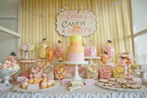 Vintage Candy + Sweet Shoppe Birthday Party via Kara's Party Ideas karaspartyideas.com sweet shop party supplies shop online cake decorations stand (5)