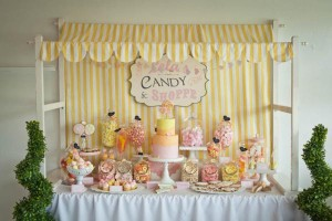 Vintage Candy + Sweet Shoppe Birthday Party via Kara's Party Ideas karaspartyideas.com sweet shop party supplies shop online cake decorations stand (4)