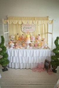 Vintage Candy + Sweet Shoppe Birthday Party via Kara's Party Ideas karaspartyideas.com sweet shop party supplies shop online cake decorations stand (3)