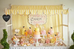 Vintage Candy + Sweet Shoppe Birthday Party via Kara's Party Ideas karaspartyideas.com sweet shop party supplies shop online cake decorations stand (2)