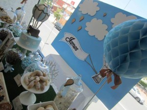 Hot Air Balloon Christening or birthday party via Kara's Party Ideas karaspartyideas.com #hot #air #balloon #christening #party #birthday #ideas #decor #cake (42)