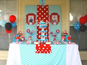 Thing One & Thing Two Dr Seuss Themed Birthday Party for twins via Kara's Party Ideas karaspartyideas.com supplies cake decorations gender neutral decor tips activities games books birthday (57)