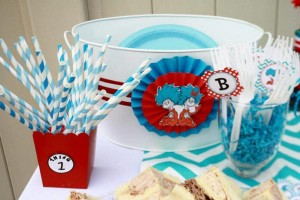 Thing One & Thing Two Dr Seuss Themed Birthday Party for twins via Kara's Party Ideas karaspartyideas.com supplies cake decorations gender neutral decor tips activities games books birthday (55)