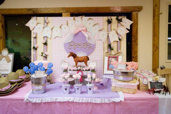Girly Vintage Horse Themed 5th Birthday Party