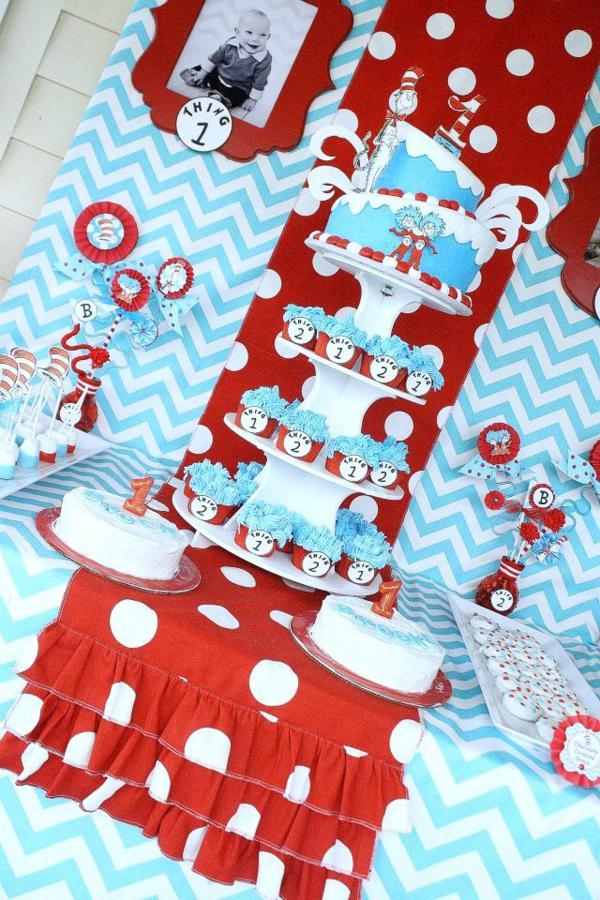 Party Ideas Thing One Thing Two Dr Seuss Twins 1st Birthday Party ...
