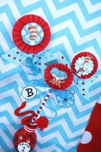 Thing One & Thing Two Dr Seuss Themed Birthday Party for twins via Kara's Party Ideas karaspartyideas.com supplies cake decorations gender neutral decor tips activities games books birthday (42)