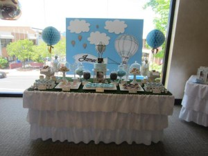 Hot Air Balloon Christening or birthday party via Kara's Party Ideas karaspartyideas.com #hot #air #balloon #christening #party #birthday #ideas #decor #cake (19)