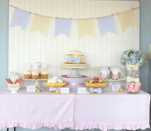Seersucker & Bow Tie Easter Party or baby shower idea via Kara's Party Ideas karaspartyideas.com Bunny Birthday First Easter Party Supplies (11)