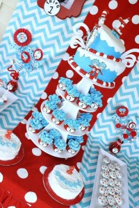Thing One & Thing Two Dr Seuss Themed Birthday Party for twins via Kara's Party Ideas karaspartyideas.com supplies cake decorations gender neutral decor tips activities games books birthday (27)