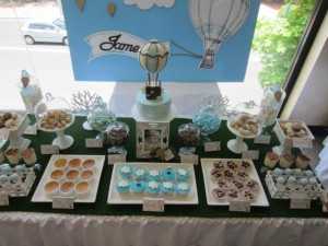 Hot Air Balloon Christening or birthday party via Kara's Party Ideas karaspartyideas.com #hot #air #balloon #christening #party #birthday #ideas #decor #cake (16)