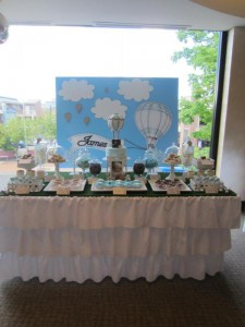 Hot Air Balloon Christening or birthday party via Kara's Party Ideas karaspartyideas.com #hot #air #balloon #christening #party #birthday #ideas #decor #cake (14)