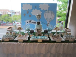 Hot Air Balloon Christening or birthday party via Kara's Party Ideas karaspartyideas.com #hot #air #balloon #christening #party #birthday #ideas #decor #cake (9)