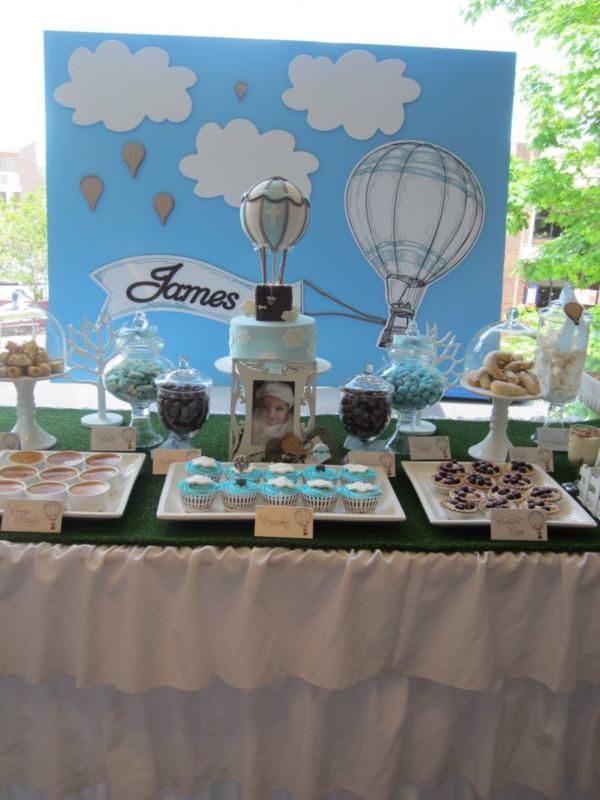 Kara 39 s party ideas hot air balloon up boy christening for 13 ka table