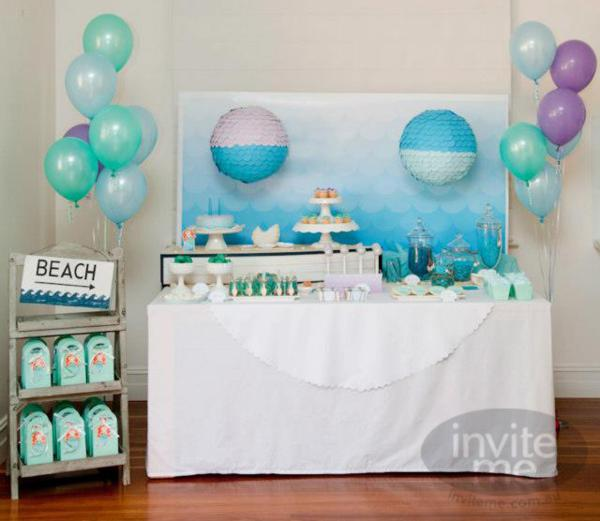 Kara 39 S Party Ideas Mermaid Beach Ocean Girl Ariel 5th Birthday Party