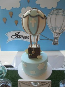 Hot Air Balloon Christening or birthday party via Kara's Party Ideas karaspartyideas.com #hot #air #balloon #christening #party #birthday #ideas #decor #cake (3)