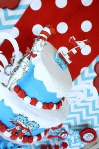 Thing One & Thing Two Dr Seuss Themed Birthday Party for twins via Kara's Party Ideas karaspartyideas.com supplies cake decorations gender neutral decor tips activities games books birthday (13)