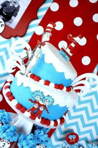 Thing One & Thing Two Dr Seuss Themed Birthday Party for twins via Kara's Party Ideas karaspartyideas.com supplies cake decorations gender neutral decor tips activities games books birthday (12)