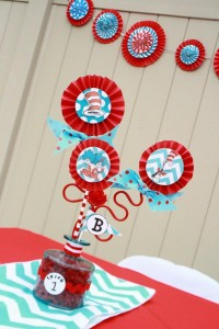 Thing One & Thing Two Dr Seuss Themed Birthday Party for twins via Kara's Party Ideas karaspartyideas.com supplies cake decorations gender neutral decor tips activities games books birthday (7)