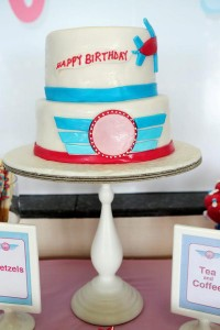Girly Airplane Airline themed birthday party via Kara's Party Ideas karaspartyideas.com #airline #airplane #plane #party #idea #cake #girly #girl supplies decorations (22)