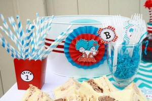 Thing One & Thing Two Dr Seuss Themed Birthday Party for twins via Kara's Party Ideas karaspartyideas.com supplies cake decorations gender neutral decor tips activities games books birthday (64)