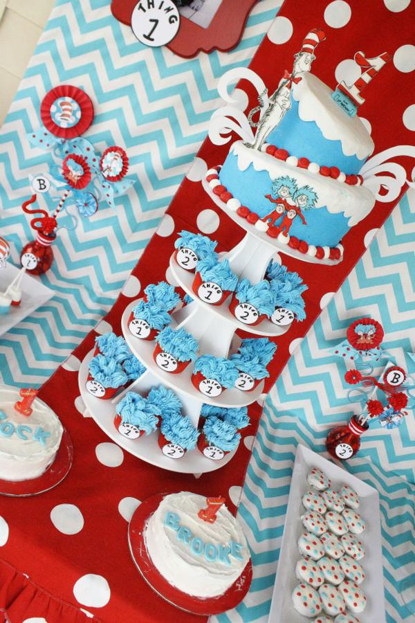 Karas Party Ideas Thing One Thing Two Dr Seuss Twins 1st Birthday