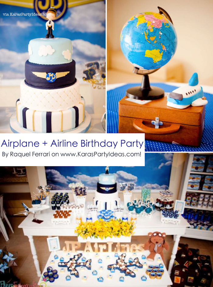 Karas Party Ideas Airplane Airline Pilot Themed Boy 1st Birthday