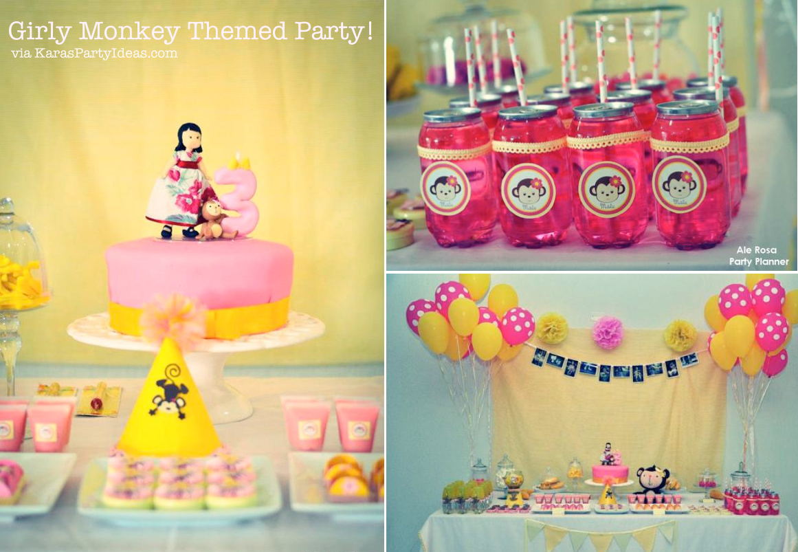 3rd birthday party ideas for girl wild karas party ideas girly monkey pink yellow banana 3rd birthday planning