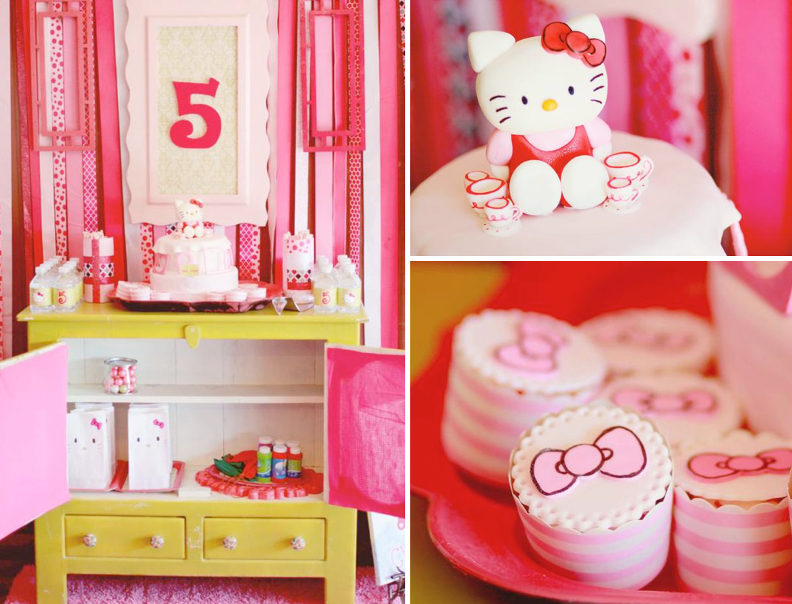 Karas Party Ideas Hello Kitty Girl Pink 5th Birthday Tea Party