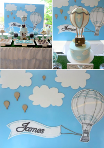 Hot Air Balloon Christening or birthday party via Kara's Party Ideas karaspartyideas.com #hot #air #balloon #christening #party #birthday #ideas #decor #cake (1)