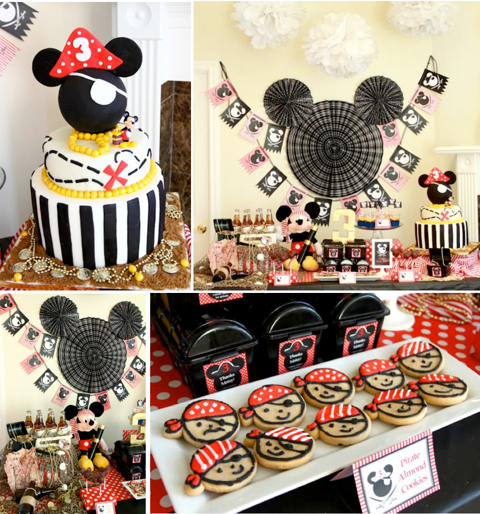 Mickey Mouse Pirate Themed Birthday Party via Kara's Party Ideas KarasPartyIdeas.com #mickey #mouse #vintage #pirate #birthday #party #cake #decor #supplies #idea