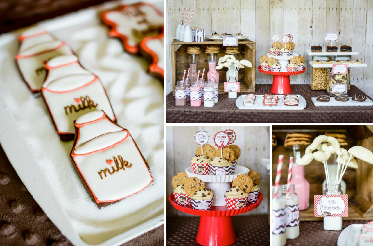 Milk and cookies 2nd birthday party via Kara's Party Ideas shower party supplies shop online karaspartyideas.com