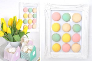 Pastel Easter party framed macarons via Kara's Party Ideas karaspartyideas.com #easter #egg #hunt #party #idea