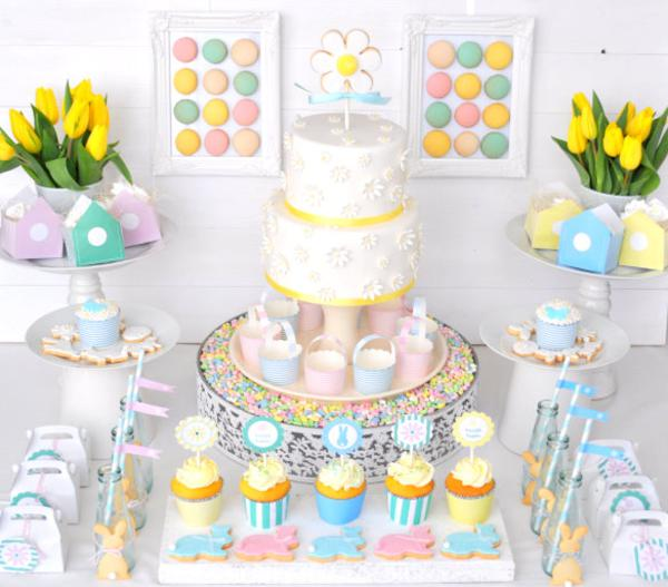 Kara 39 s party ideas pastel spring easter bunny girl boy - Deco table de paques ...