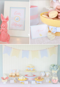 Seersucker & Bow Tie Easter Party or baby shower idea via Kara's Party Ideas karaspartyideas.com Bunny Birthday First Easter Party Supplies (1)