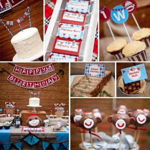 Sock Monkey themed 1st birthday party via Kara's Party Ideas Cake Decorations Food Treats Desserts Banner Printables Supplies Planning Tutorials How To Idea | KarasPartyIdeas.com (14)