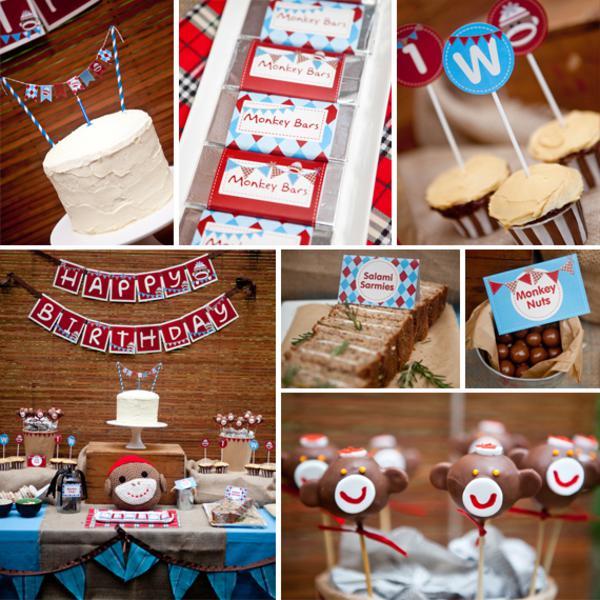 Karas Party Ideas Sock Monkey Themed Boy 1st Birthday