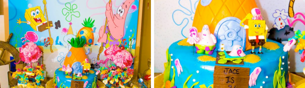 SpongeBob SquarePants Sponge Bob themed birthday party via Kara's Party Ideas karaspartyideas.com #spongebob #sponge #bob #birthday #party #ideas #cake