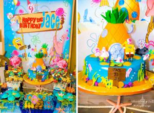 SpongeBob SquarePants Sponge Bob themed birthday party via Kara's Party Ideas karaspartyideas.com #spongebob #sponge #bob #birthday #party #ideas #cake