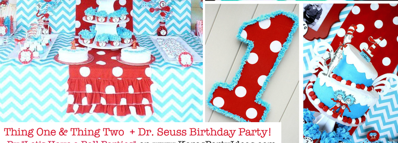 Thing One & Thing Two Dr Seuss Themed Birthday Party for twins via Kara's Party Ideas karaspartyideas.com supplies cake decorations gender neutral decor tips activities games books birthday (1)